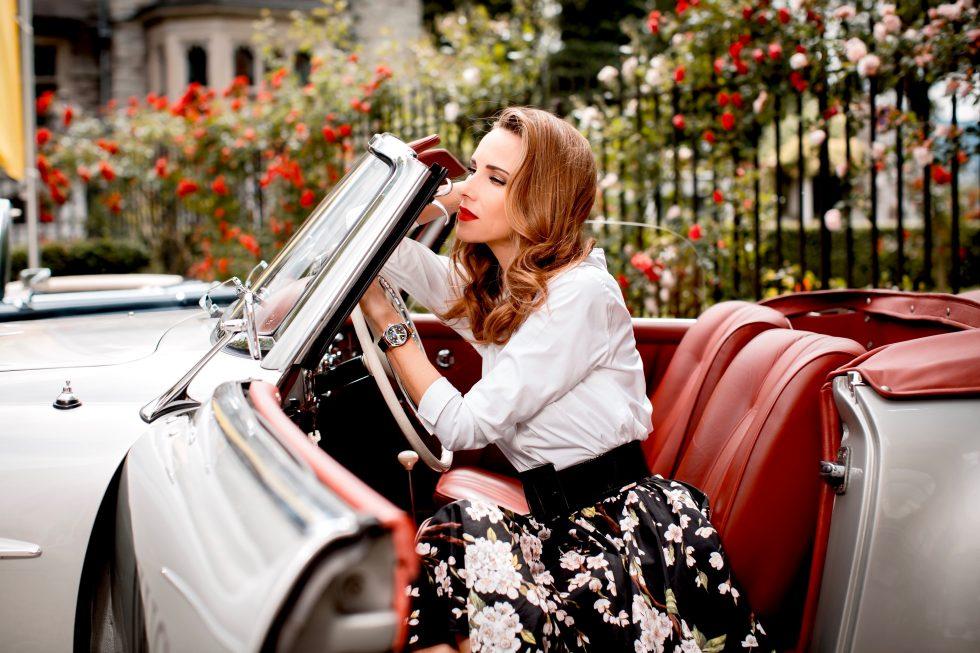 Alexandra Lapp wearing IWC Pilot's Watch, Dolce & Gabbana, Saint Laurent, Steffen Schraut, Armani, MAC, 50ies style