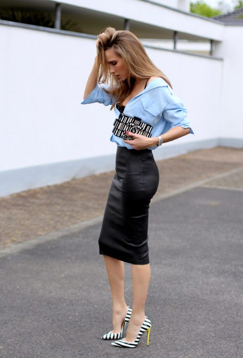 Alexandra Lapp wearing a pencil skirt from Joseph, Equipment, La Perla, Christian Louboutin, Chanel, Topshop