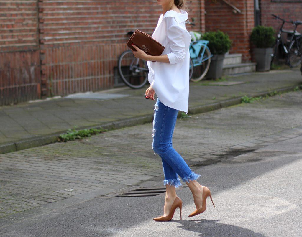 Alexandra Lapp wearing a white shirt from Steffen Schraut, Zara, Christian Louboutin, Chanel, Chanel vintage, BCBG, Chrome Hearts