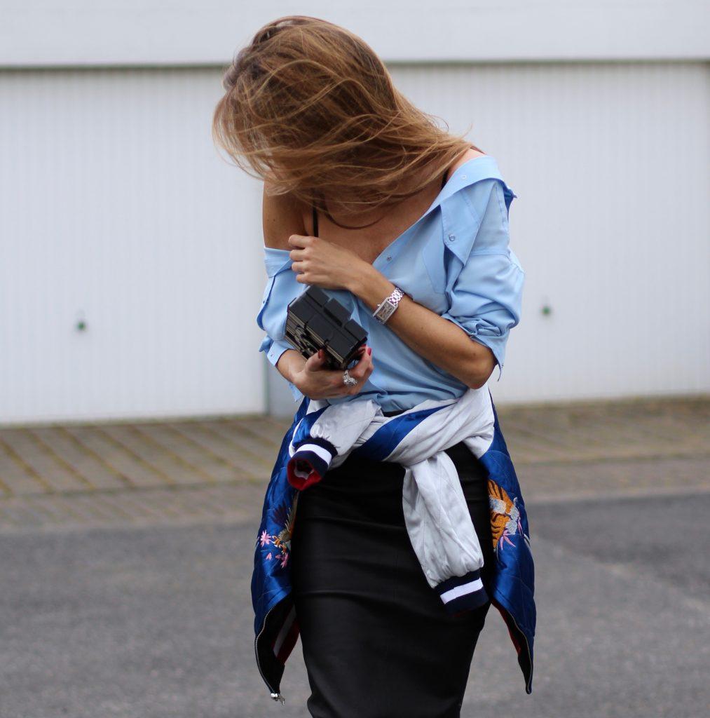 Alexandra Lapp wearing a pencil skirt from Joseph, Equipment, La Perla, Christian Louboutin, Chanel, Topshop