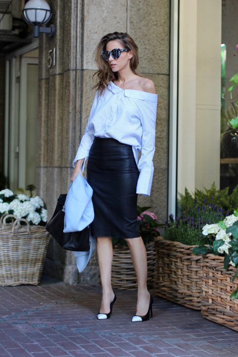 Alexandra lapp wearing off the shoulder blouse from Boutique Belgique, Le Specs, Joseph, Hermès, Saint Laurent