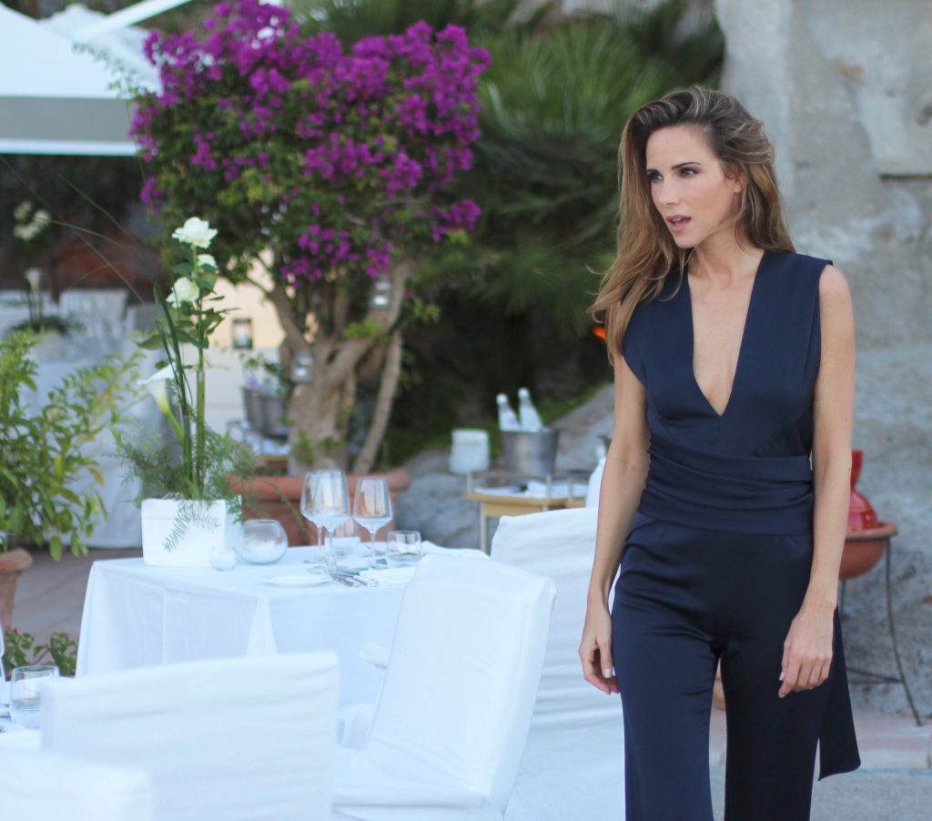 Alexandra Lapp at the summer dinner in Ischia wearing Galvan London, Saint Laurent, Albergo della Regina Isabella, Indaco