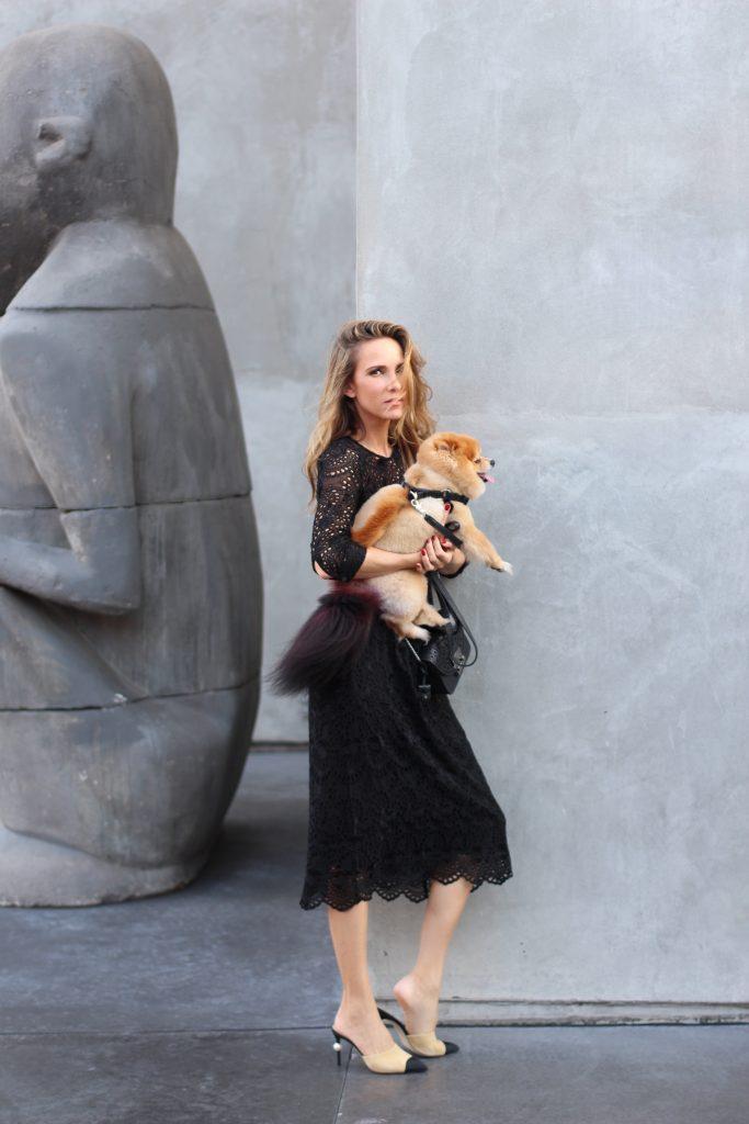 Alexandra Lapp wearing Jadicted, Furla, Chanel in front of Mayfield LA, Melrose