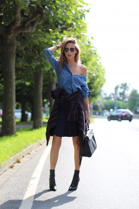 Alexandra Lapp wearing College Set, collage jacket and skirt by SET, Asos denim blouse, Hermès Kelly bag, Ray Ban sunglasses and Gianvito Rossi ankle boots.