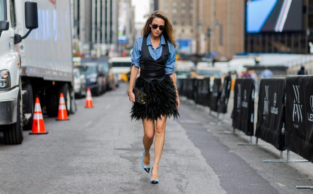 Alexandra Lapp wearing Tommy Hilfiger, Steffen Schraut, Richmond, Azzedine Alaïa, Saint Laurent, Prada, Monokel Eyewear during NYFW at Tommy x Giggi Show in New York.