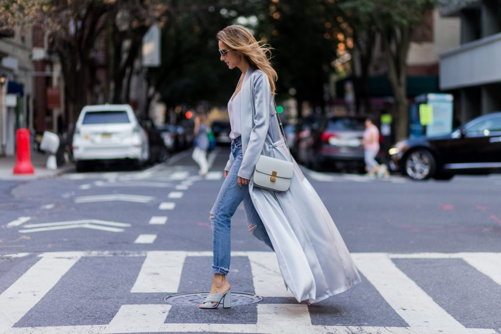 grey silk trench coat Galvan, Re Done Levis ripped denim jeans, Celine bag, Chloe sunglasses, New York City