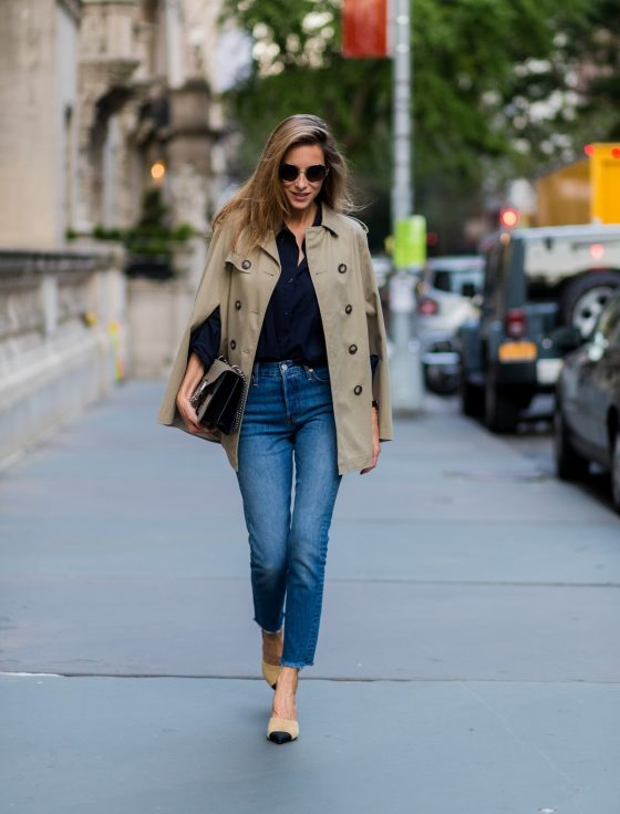 trench cape from SET, Levis denim jeans, Chanel shoes, Gucci bag and Chloe sunglasses