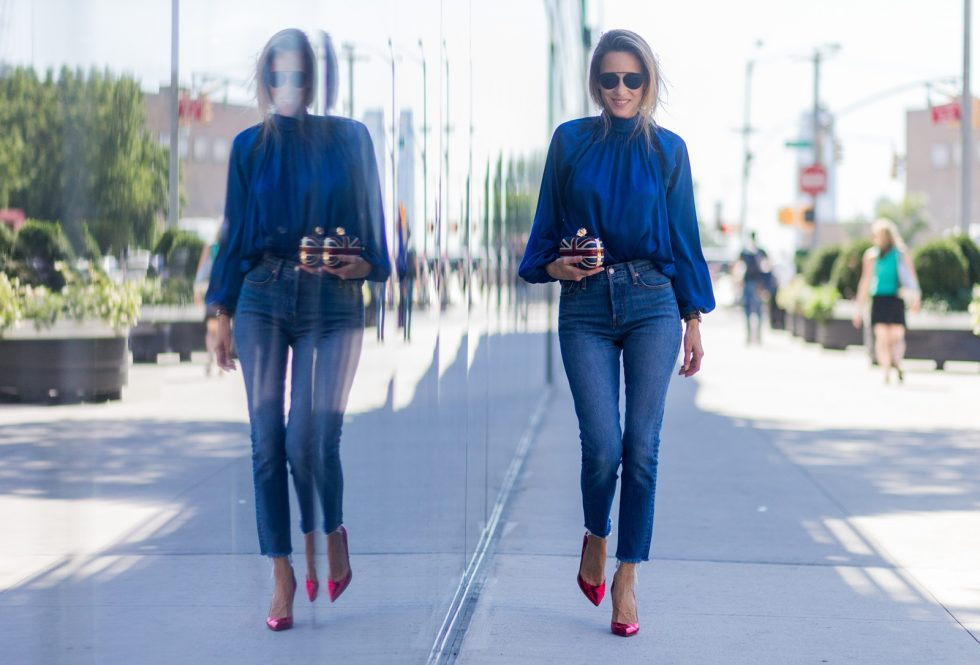 back to front shirt Steffen Schraut, Levis jeans, Alexander Mc Queen, Dior sunglasses, Gianvito Rossi pumps