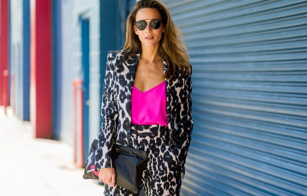 NEW YORK, NY - SEPTEMBER 14: German Fashion Blogger and Model Alexandra Lapp (@alexandralapp_) wearing a Tom Ford suit with animal print, Jadicted pink top, Prada clutch, Dior sunglasses outside Delpozo on September 14, 2016 in New York City. (Photo by Christian Vierig/Getty Images) *** Local Caption *** Alexandra Lapp
