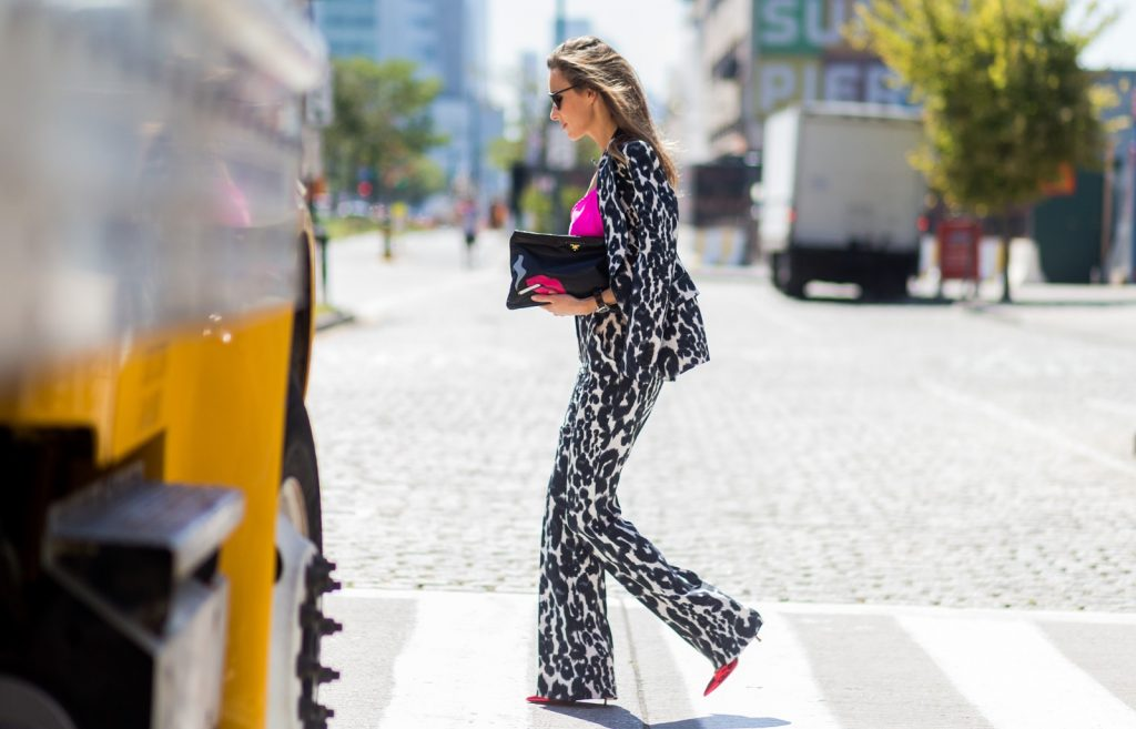 NEW YORK, NY - SEPTEMBER 14: German Fashion Blogger and Model Alexandra Lapp (@alexandralapp_) wearing a Tom Ford suit with animal print, Jadicted pink top, Prada clutch, Dior sunglasses and Gianvito Rossi heels outside Delpozo on September 14, 2016 in New York City. (Photo by Christian Vierig/Getty Images) *** Local Caption *** Alexandra Lapp