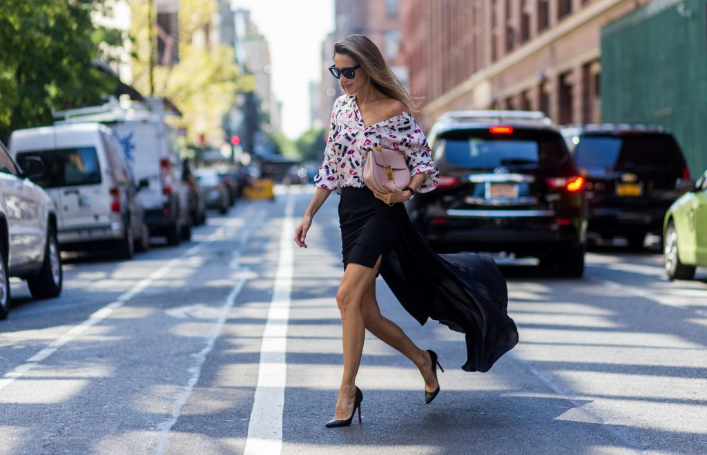 NEW YORK, NY - SEPTEMBER 14: German Fashion Blogger and Model Alexandra Lapp (@alexandralapp_) wearing a black Tigha skirt, Jadicted blouse, Chloe bag, Celine sunglasses and Christian Louboutin pumps on September 14, 2016 in New York City. (Photo by Christian Vierig/Getty Images) *** Local Caption *** Alexandra Lapp