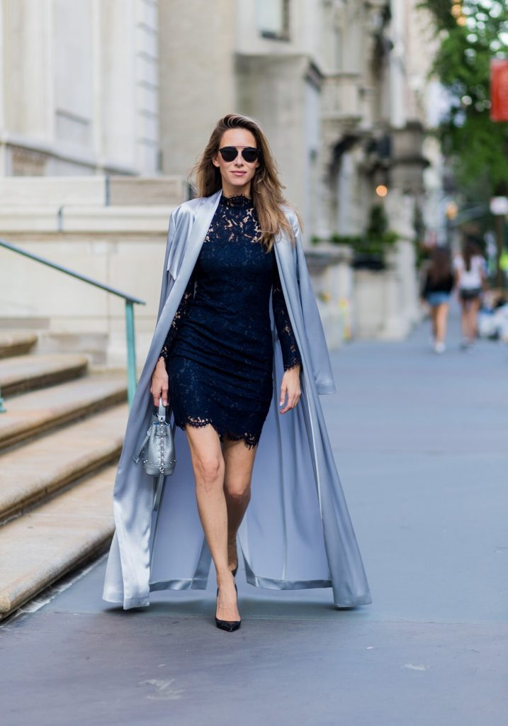NEW YORK, NY - SEPTEMBER 13: Day to night fashion, German fashion blogger and model Alexandra Lapp (@alexandralapp_) wearing a navy dress from SET on September 13, 2016 in New York City. (Photo by Christian Vierig/Getty Images) *** Local Caption *** Alexandra Lapp