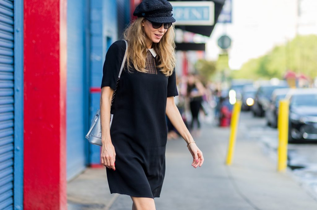 NEW YORK, NY - SEPTEMBER 10: Alexandra Lapp (@alexandralapp_) wearing a black collar dress by SET, Balmain boots, Chanel hat, Furla bag, Chanel sunglasses outside Dion Lee on September 9, 2016 in New York City. (Photo by Christian Vierig/Getty Images) *** Local Caption *** Alexandra Lapp
