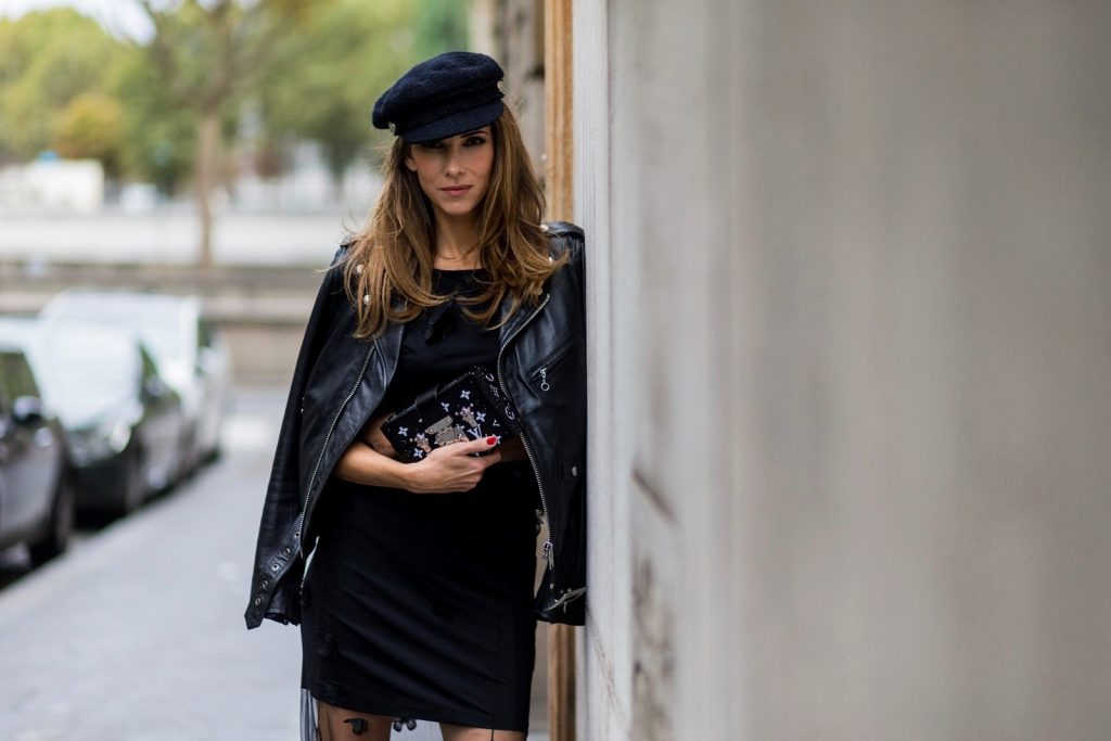 PARIS, FRANCE - OCTOBER 02: German fashion blogger and model Alexandra Lapp (@alexandralapp_) wearing Biker Couture, a black dress from Patrizia Pepe, biker leather jacket from Schott NYC, biker boots from Gucci, Chanel hat and Louis Vuitton Petite Malle clutch on October 2, 2016 in Paris, France. (Photo by Christian Vierig/Getty Images) *** Local Caption *** Alexandra Lapp