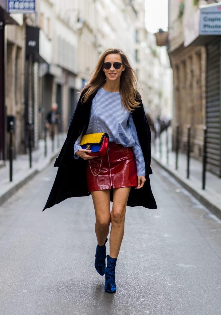 PARIS, FRANCE - SEPTEMBER 30: German fashion blogger and model Alexandra Lapp (@alexandralapp_) wearing Blue Velvet Phillip Lim shoes, Steffen Schraut blue velvet coat, Zara skirt and blouse, Dior sunglasses, Chanel bag on September 30, 2016 in Paris, France. (Photo by Christian Vierig/Getty Images) *** Local Caption *** Alexandra Lapp