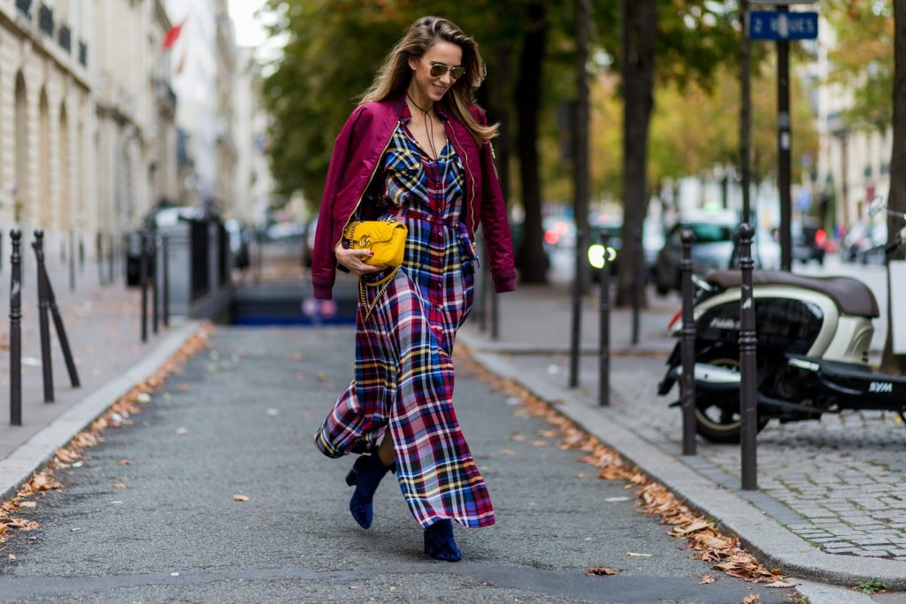 PARIS - OCTOBER 3: German fashion blogger and model Alexandra Lapp (@alexandralapp_) wearing a shirt dress from L'Agence, Schott NYC bomber jacket, Phillip Lim boots, Gucci bag and Ray Ban sunglasses on October 3, 2016 in Paris during PFW. (Photo by Christian Vierig/Getty Images) *** Local Caption *** Alexandra Lapp