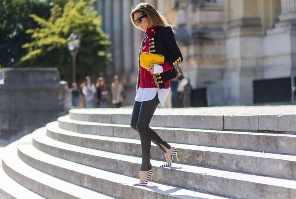 PARIS, FRANCE - OCTOBER 02: German fashion blogger and model Alexandra Lapp (@alexandralapp_) wearing a band jacket and turtleneck from Balmain, leather pants from SET, Shirt and sunglasses from Celine, Christian Louboutin pumps and a yellow Gucci bag on October 4, 2016 in Paris, France. (Photo by Christian Vierig/Getty Images) *** Local Caption *** Alexandra Lapp