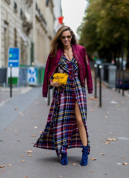 L'Agence shirt dress, Schott NYC bomber jacket, Phillip Lim boots, Gucci bag, Ray Ban sunglasses, Paris, PFW