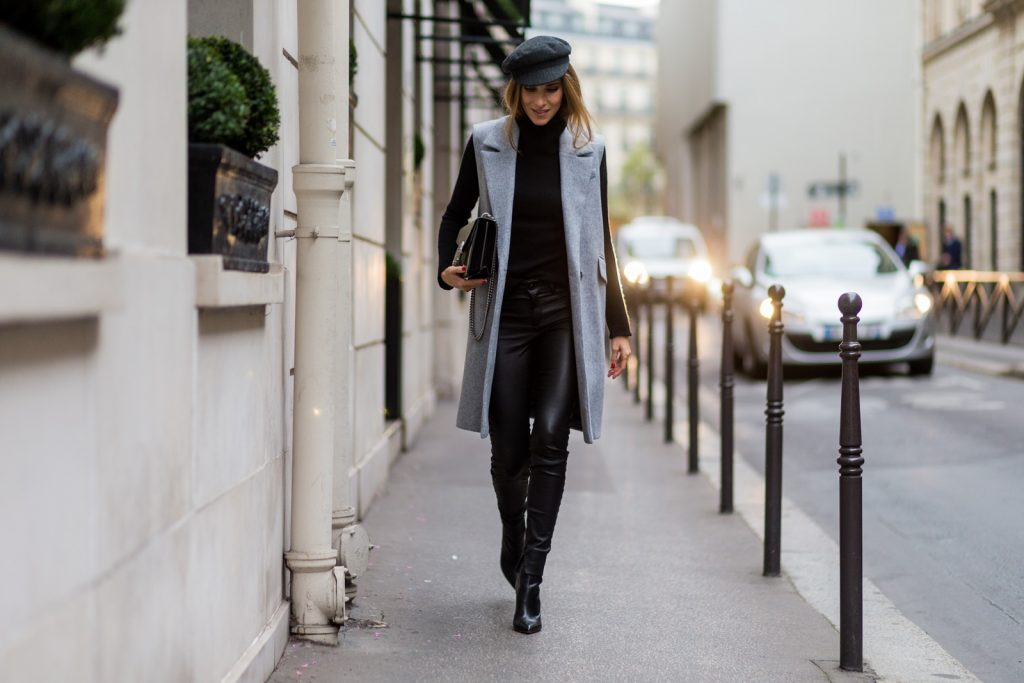 PARIS, FRANCE - SEPTEMBER 30: German fashion blogger and model Alexandra Lapp (@alexandralapp_) wearing black leather pants and grey vest from SET, shoes from Gianvito Rossi , Gucci bag, and Isabel Marant hat on September 30, 2016 in Paris, France. (Photo by Christian Vierig/Getty Images) *** Local Caption *** Alexandra Lapp