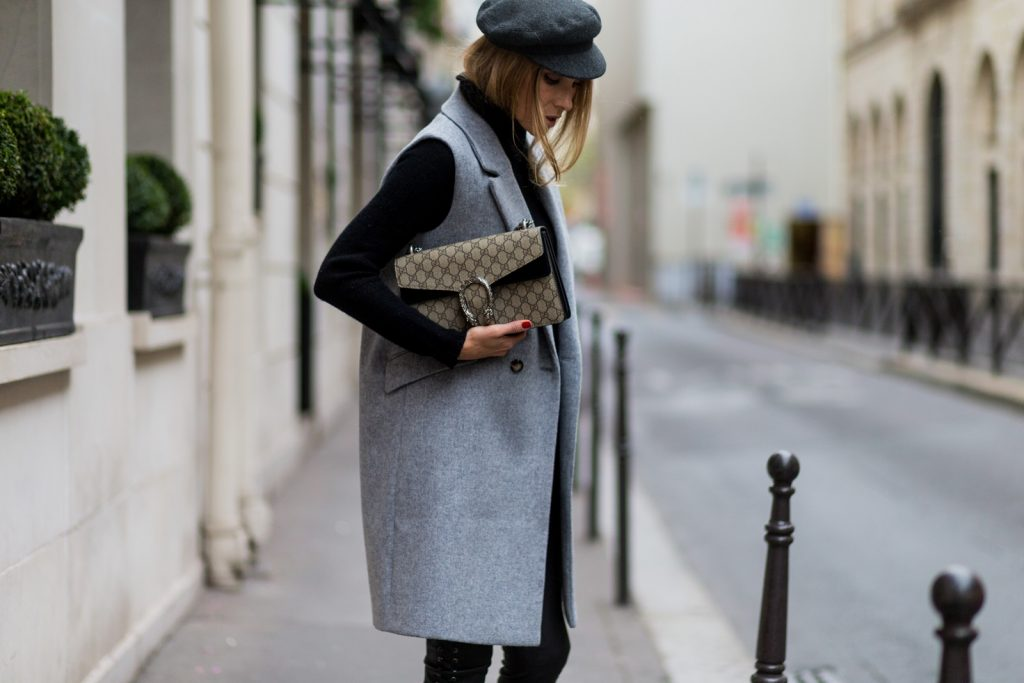 PARIS, FRANCE - SEPTEMBER 30: German fashion blogger and model Alexandra Lapp (@alexandralapp_) wearing black leather pants and grey vest from SET, Gucci bag, and Isabel Marant hat on September 30, 2016 in Paris, France. (Photo by Christian Vierig/Getty Images) *** Local Caption *** Alexandra Lapp