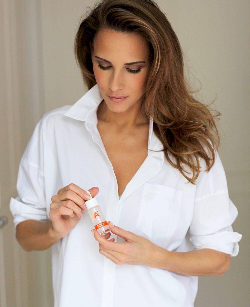 Alexandra Lapp testing A4 Cosmetics Munich, A4 cosmetics Magic Elixir, A4 Cosmetics Red Carpet eye cream, A4 Cosmetics face serum, A4 Cosmetics night watch, A4 Cosmetics face cream