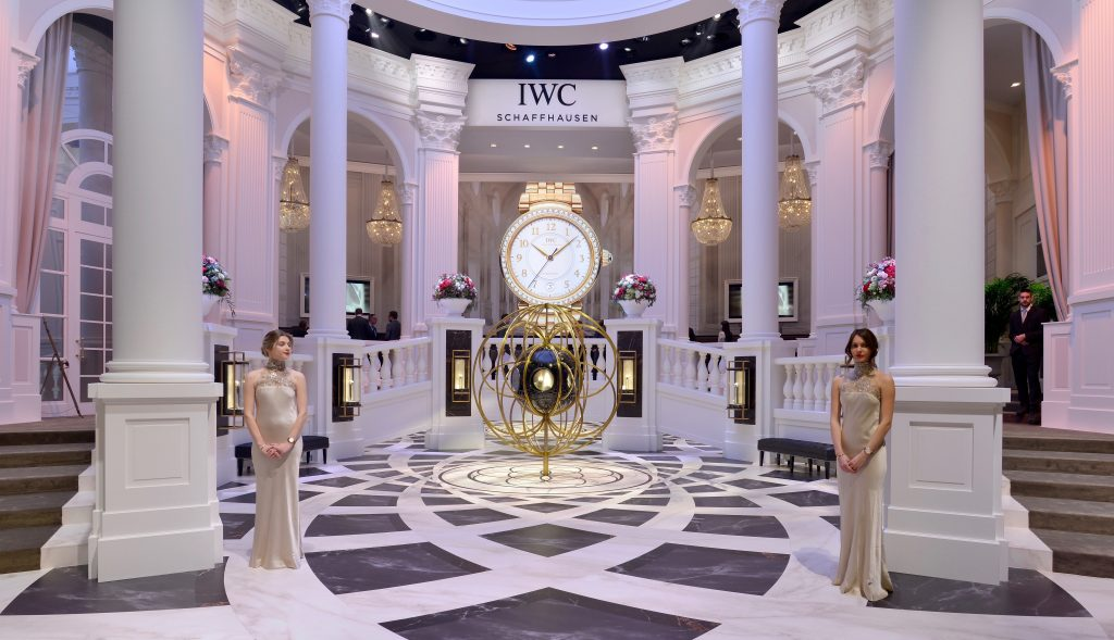GENEVA, SWITZERLAND - JANUARY 16: A general view at the IWC booth during the launch of the Da Vinci Novelties from the Swiss luxury watch manufacturer IWC Schaffhausen at the Salon International de la Haute Horlogerie (SIHH) 2017 on January 16, 2017 in Geneva. (Photo by Harold Cunningham/Getty Images for IWC)
