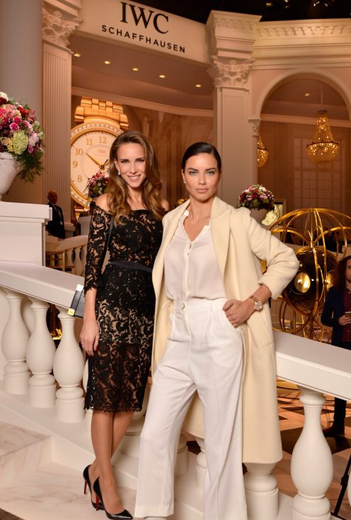 GENEVA, SWITZERLAND - JANUARY 16: Alexandra Lapp and Adriana Lima at the IWC booth during the launch of the Da Vinci Novelties from the Swiss luxury watch manufacturer IWC Schaffhausen at the Salon International de la Haute Horlogerie (SIHH) 2017 on January 16, 2017 in Geneva. (Photo by Harold Cunningham/Getty Images for IWC)