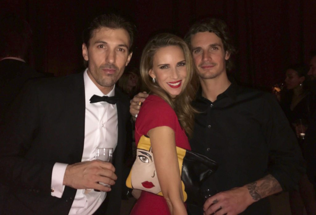 """GENEVA, SWITZERLAND - JANUARY 17: Fabian Cancellara, Alexandra Lapp, Patrick Seabase attend the IWC Schaffhausen """"Decoding the Beauty of Time"""" Gala Dinner during the launch of the Da Vinci Novelties from the Swiss luxury watch manufacturer IWC Schaffhausen at the Salon International de la Haute Horlogerie (SIHH) on January 17, 2017 in Geneva, . (Photo by Chris Jackson/Getty Images for IWC) *** Local Caption *** Fabian Cancellara, Alexandra Lapp, Patrick Seabase"""