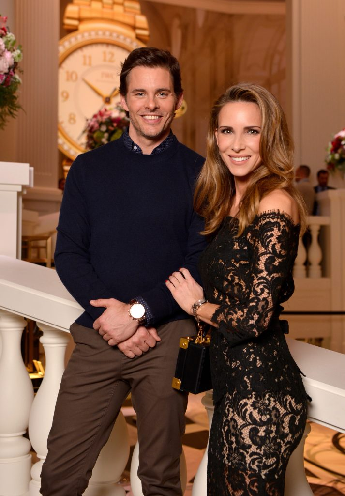 GENEVA, SWITZERLAND - JANUARY 16: James Marsden and Alexandra Lapp at the IWC booth during the launch of the Da Vinci Novelties from the Swiss luxury watch manufacturer IWC Schaffhausen at the Salon International de la Haute Horlogerie (SIHH) 2017 on January 16, 2017 in Geneva. (Photo by Harold Cunningham/Getty Images for IWC)
