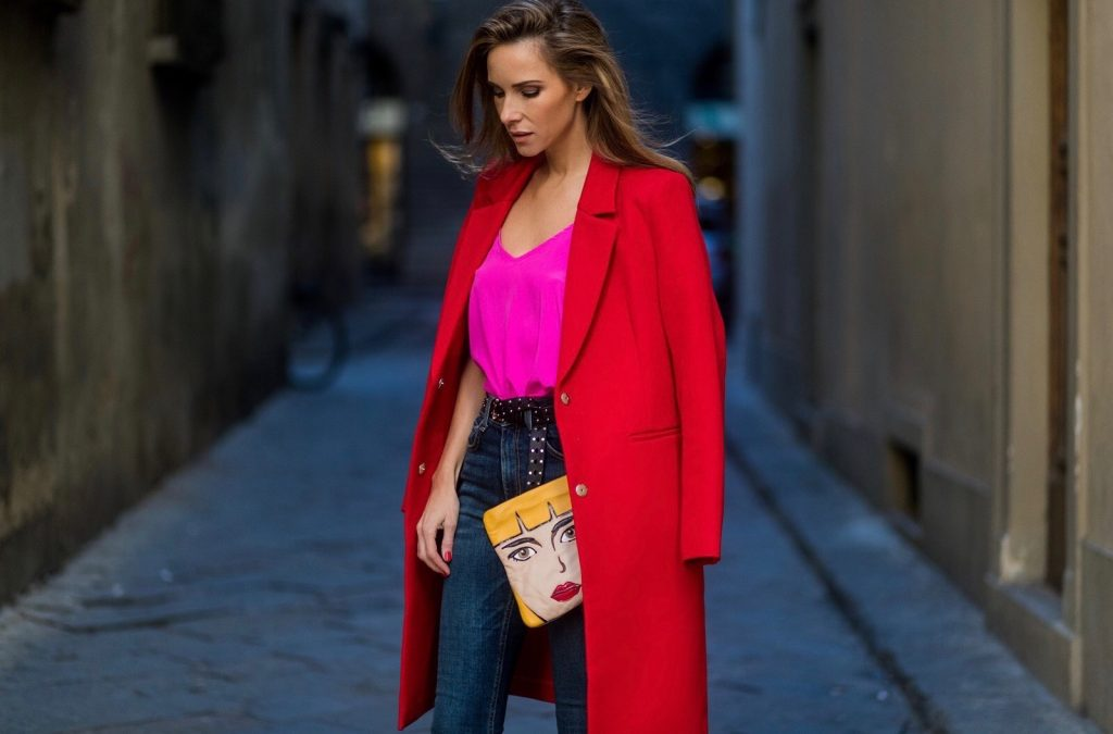 FLORENCE, ITALY - JANUARY 11: German fashion blogger and model Alexandra Lapp is wearing red blazer coat from Oui Fashion, pink silk top from Jadicted, high waist jeans/denim from Rag & Bone, red metallic pumps from Gianvito Rossi, Prada clutch, leather belt from SET on January 11, 2017 in Florence, Italy. (Photo by Christian Vierig/Getty Images) *** Local Caption *** Alexandra Lapp
