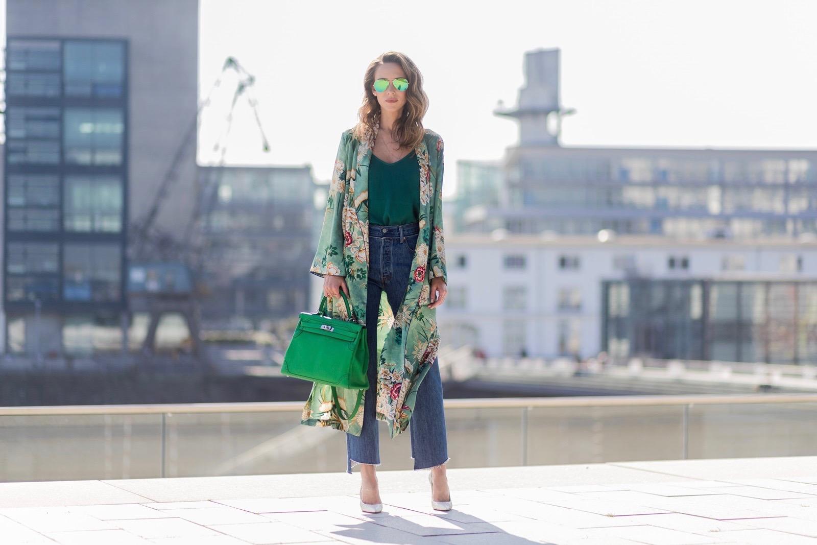 27945f78 Model and fashion blogger Alexandra Lapp has a Kimono Love, wearing a green  flower printed ...
