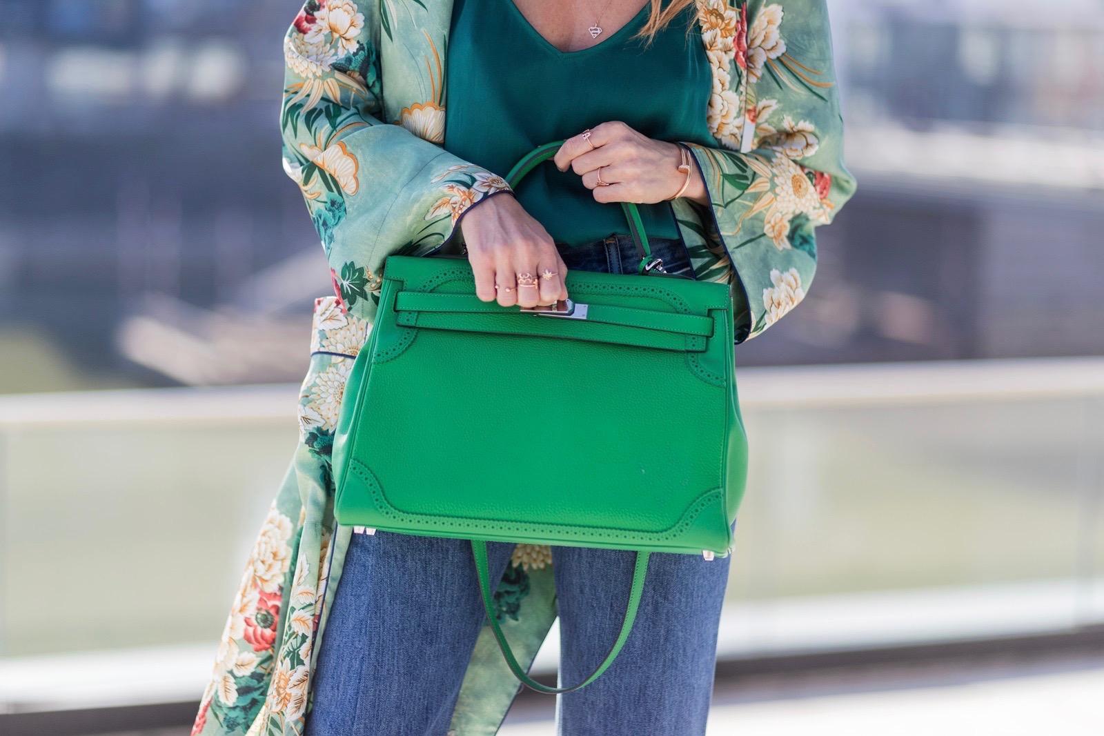 374c9ce1 ... Model and fashion blogger Alexandra Lapp has a Kimono Love, wearing a  green flower printed ...
