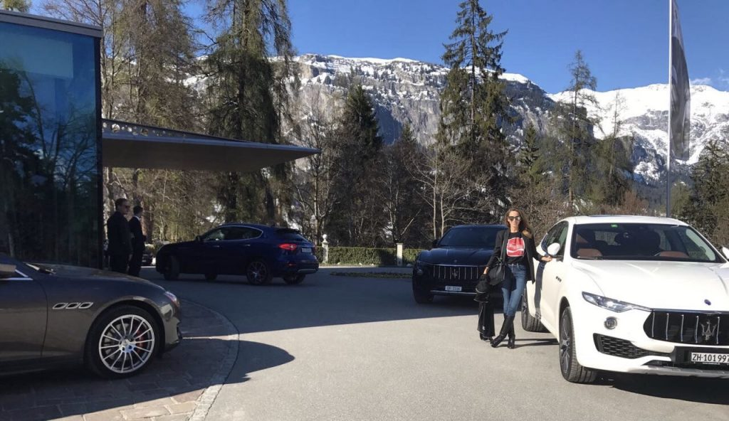 Model and Blogger Alexandra Lapp during the Grand Opening of the Waldhaus Flims Alpine Grand Hotel & Spa in Switzerland with the new Maserati Levante.