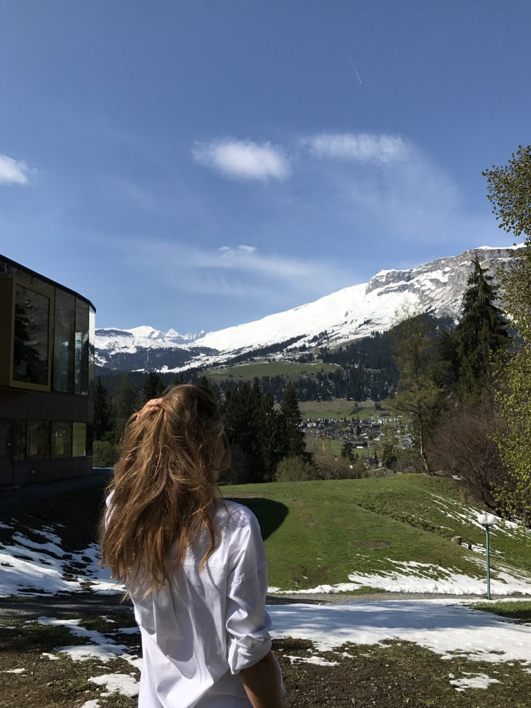 Model and Blogger Alexandra Lapp during the Grand Opening of the Waldhaus Flims Alpine Grand Hotel & Spa in Switzerland.