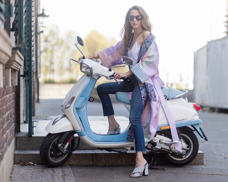 2c32c2d2 Model and fashion blogger Alexandra Lapp wearing a printed kimono / panel  robe from Natasha Zinko