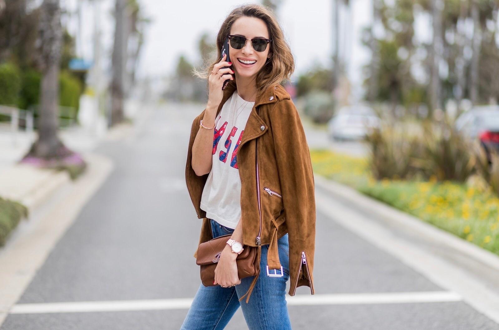 Suede Biker Jacket Santa Monica Blog Alexandra Lapp