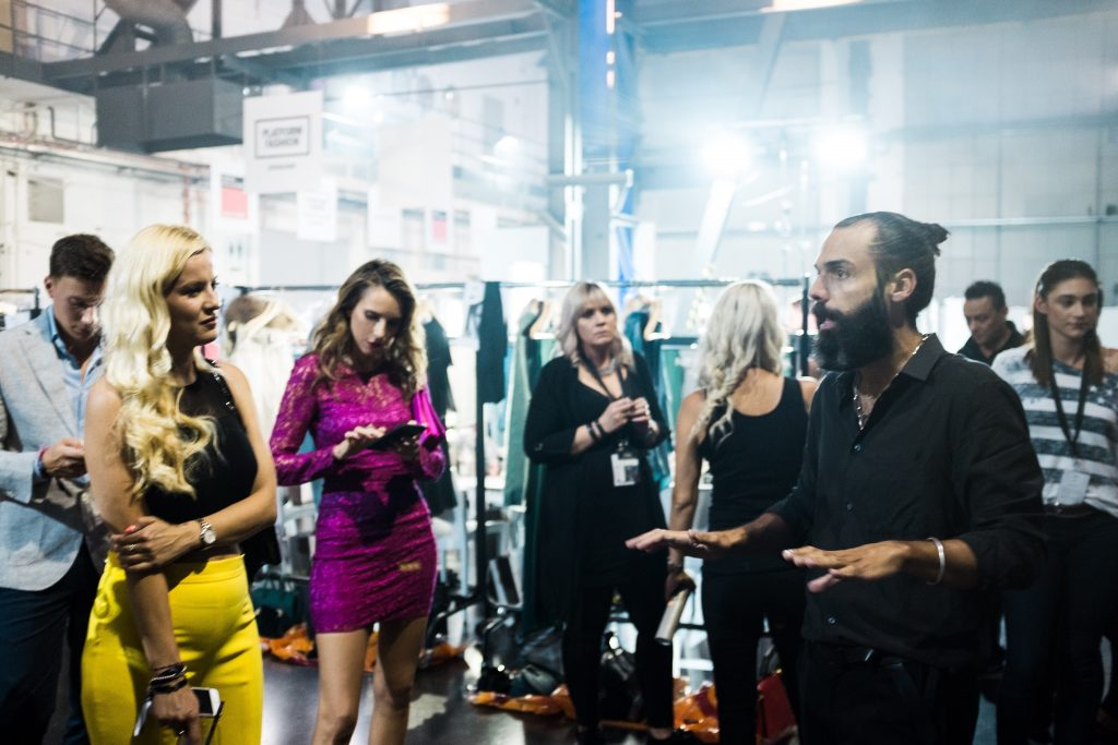Model and Blogger Alexandra Lapp visiting Backstage before Fashion Show at Breuninger meets Platform-Fashion on July 21st 2017 in Düsseldorf, Germany.