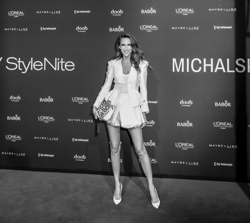 Babor x Michalsky StyleNite, German Model and Blogger Alexandra Lapp wearing Haute Couture by Michael Michalsky, white snake pumps from Christian Louboutin, black and white Chanel bag in white leather with black pearls at Michalsky StyleNite during the Mercedes-Benz Fashion Week Berlin Spring/Summer 2018 on July 7, 2017 in Berlin, Germany.
