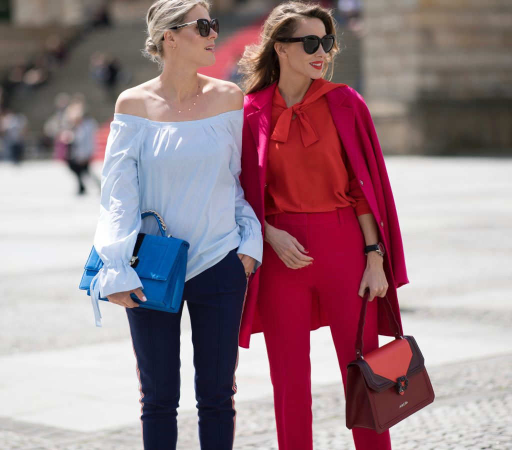 BERLIN, GERMANY - JULY 04: Sofie Valkiers and Alexandra Lapp seen wearing a outfit from Marc Cain in the streets of Berlin befoe the Marc Cain Fashion Show Summer/Spring 2018 on July 4, 2017 in Berlin, Germany. (Photo by Timur Emek/Getty Images for Marc Cain) *** Local Caption *** Alexandra Lapp;Sofie Valkiers