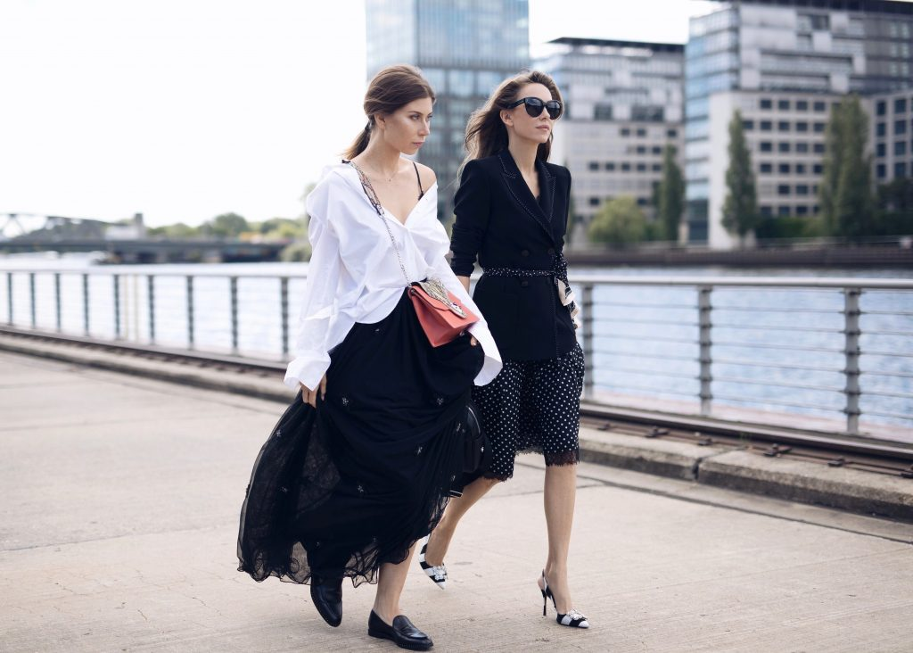 BERLIN, GERMANY - JULY 04: Alexandra Lapp (R) and Vicky Heiler (L) pose at the Marc Cain street style shooting during Mercedes-Benz Fashion Week Berlin Spring/Summer 2018 on July 4, 2017 in Berlin, Germany. (Photo by Brian Dowling/Getty Images for Marc Cain) *** Local Caption *** Alexandra Lapp; Vicky Heiler Processed with VSCO with a5 preset