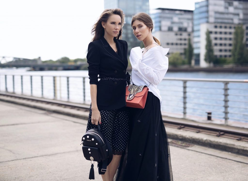 BERLIN, GERMANY - JULY 04: Alexandra Lapp and Vicky Heiler pose at the Marc Cain street style shooting during Mercedes-Benz Fashion Week Berlin Spring/Summer 2018 on July 4, 2017 in Berlin, Germany. (Photo by Brian Dowling/Getty Images for Marc Cain) *** Local Caption *** Alexandra Lapp; Vicky Heiler Processed with VSCO with a5 preset