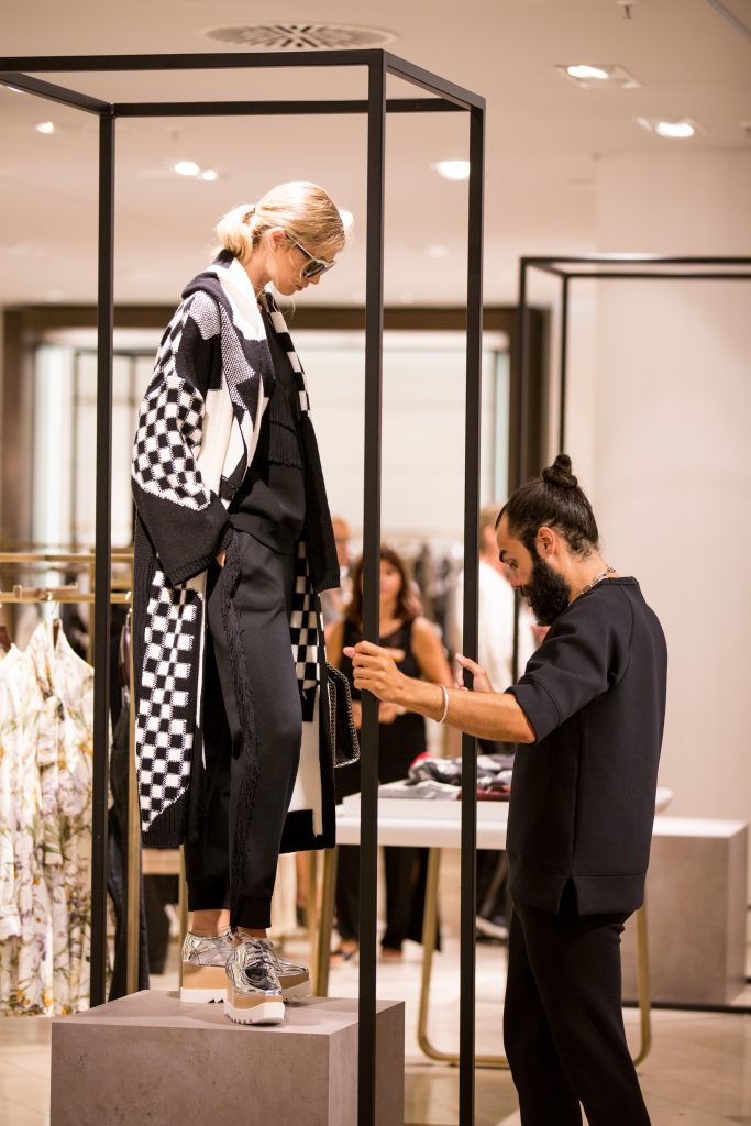 Stylist Graziano Di Cintio working at the Breuninger Pre-Opening Women's Premium World on July 20th in Düsseldorf.