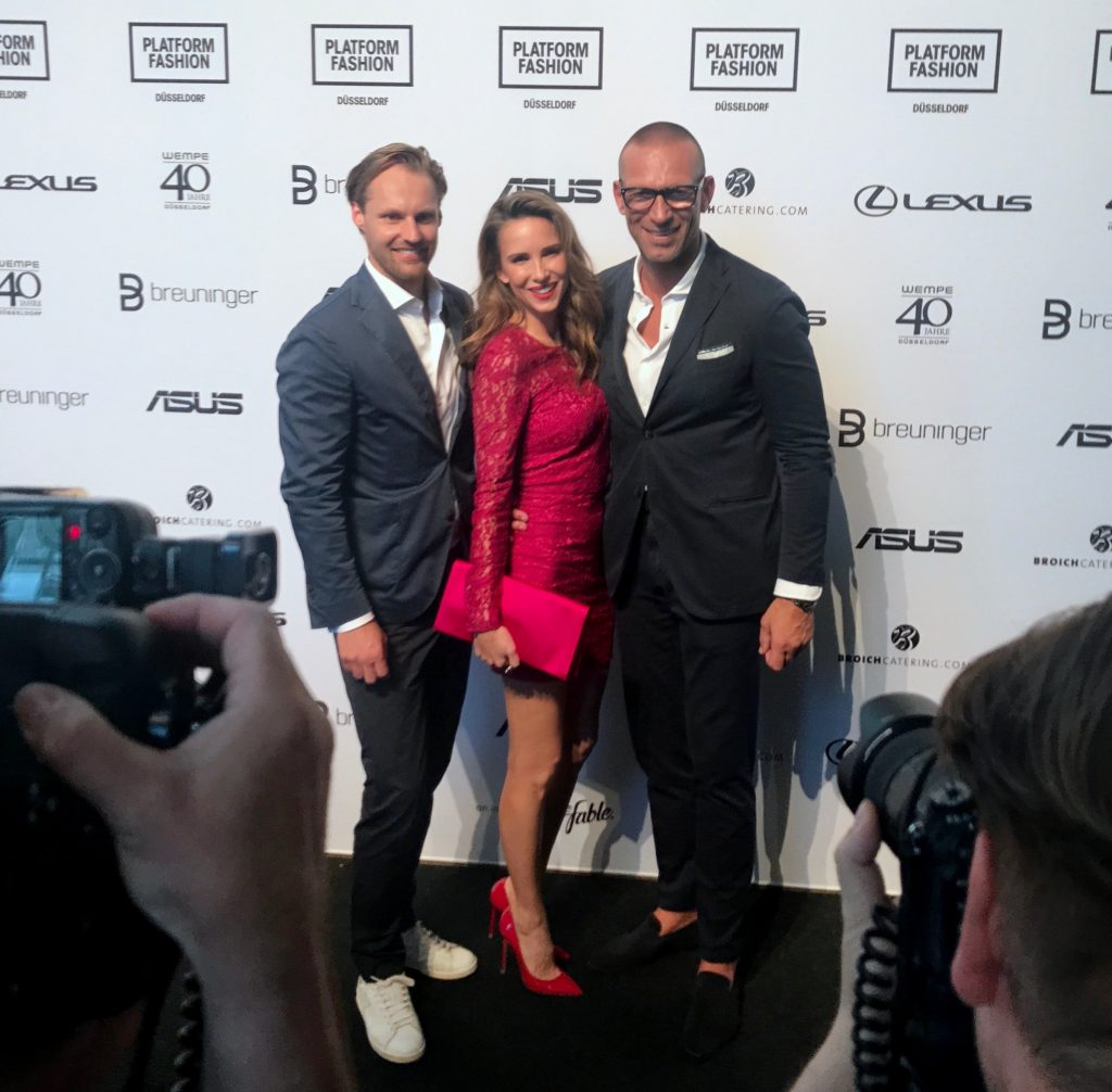 Thomas Höhn, Alexandra Lapp, Andreas-Rebbelmund attending the red carpet at Breuninger meets Platform-Fashion on July 21st 2017 in Düsseldorf, Germany.