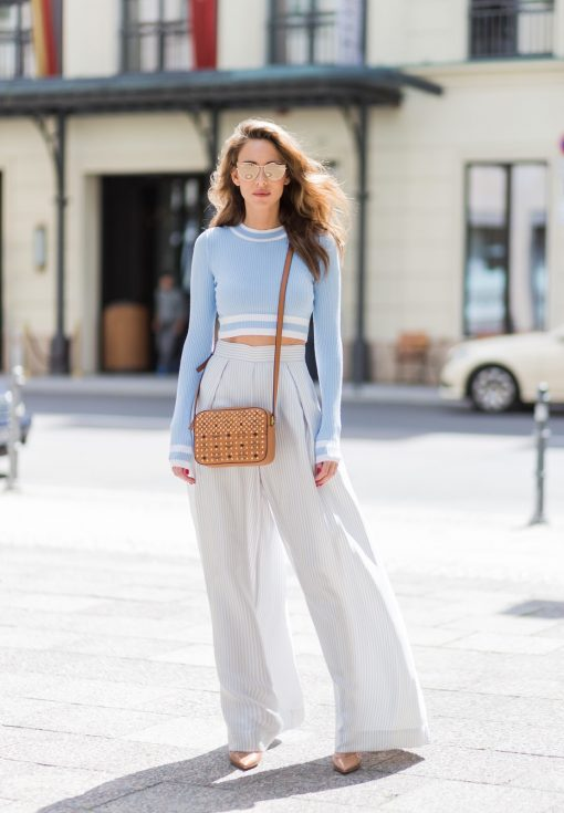 wide leg pants, crop top, mcm, Visetos bag, H&M, Zimmermann, Christian Louboutin, Karl Lagerfeld, Karl, MBFWB, MBFW