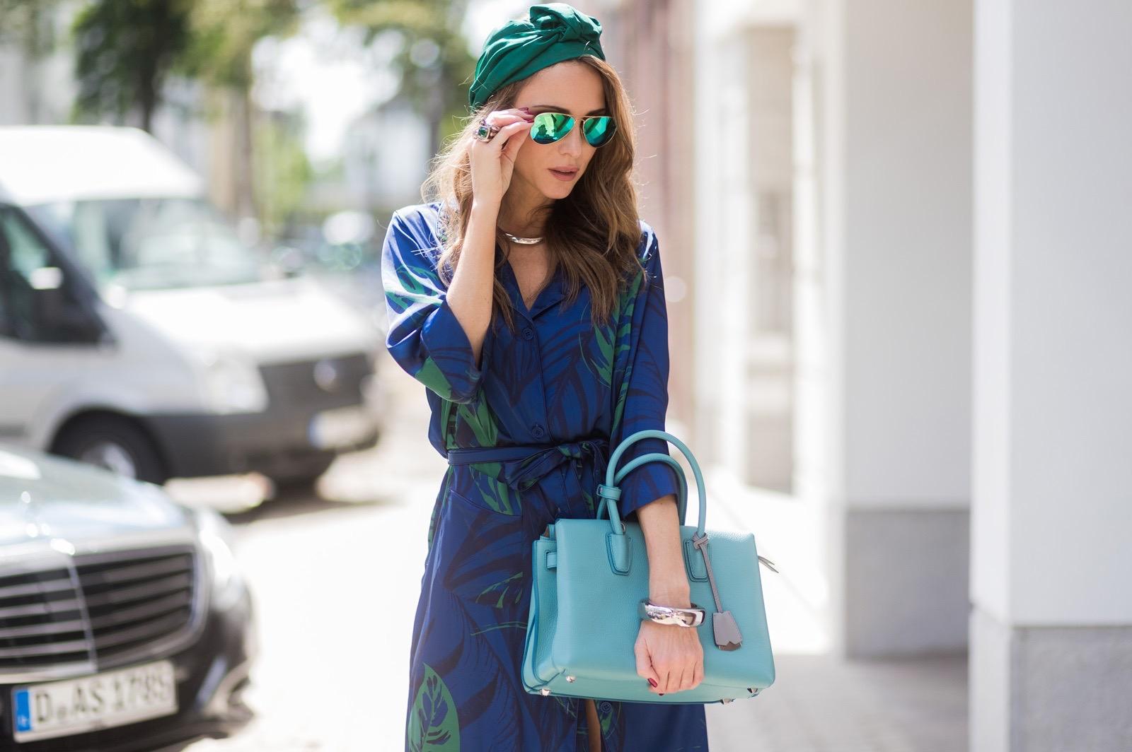 2305924b Model and fashion blogger Alexandra Lapp wearing a blue Kimono maxi dress  with green leaf print ...