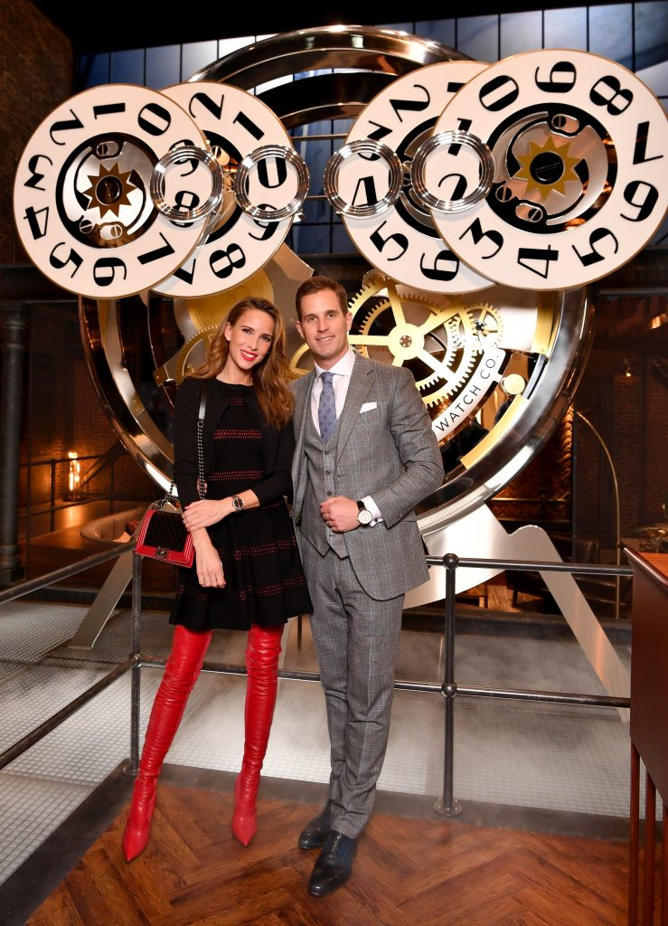 GENEVA, SWITZERLAND - JANUARY 15: 150 YEARS OF IWC SCHAFFHAUSEN, Alexandra Lapp and Christoph Grainger Herr at the IWC booth during the Maison's launch of its Jubilee Collection at the Salon International de la Haute Horlogerie (SIHH) on January 15, 2018 in Geneva, Switzerland. #IWC150 (Photo by Harold Cunningham/Getty Images for IWC)