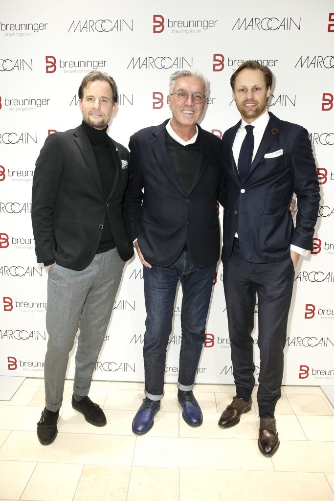 DUESSELDORF, GERMANY - MARCH 08: Dirk Buescher (Marc Cain Agency Duesseldorf), Helmut Schlotterer ( Chairman of the Board Marc Cain) and Thomas Hoehn (Managing director Breuninger Duesseldorf) during the 'Marc Cain loves Breuninger' event on March 8, 2018 in Duesseldorf, Germany. (Photo by Isa Foltin/Getty Images for Marc Cain)