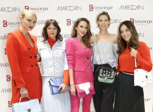 DUESSELDORF, GERMANY - MARCH 08: Model Franziska Knuppe, German actress Jessica Schwarz, blogger Alexandra Lapp, German actress Sarah Brandner and model Anna Sharypova during the 'Marc Cain loves Breuninger' event on March 8, 2018 in Duesseldorf, Germany. (Photo by Isa Foltin/Getty Images for Marc Cain)