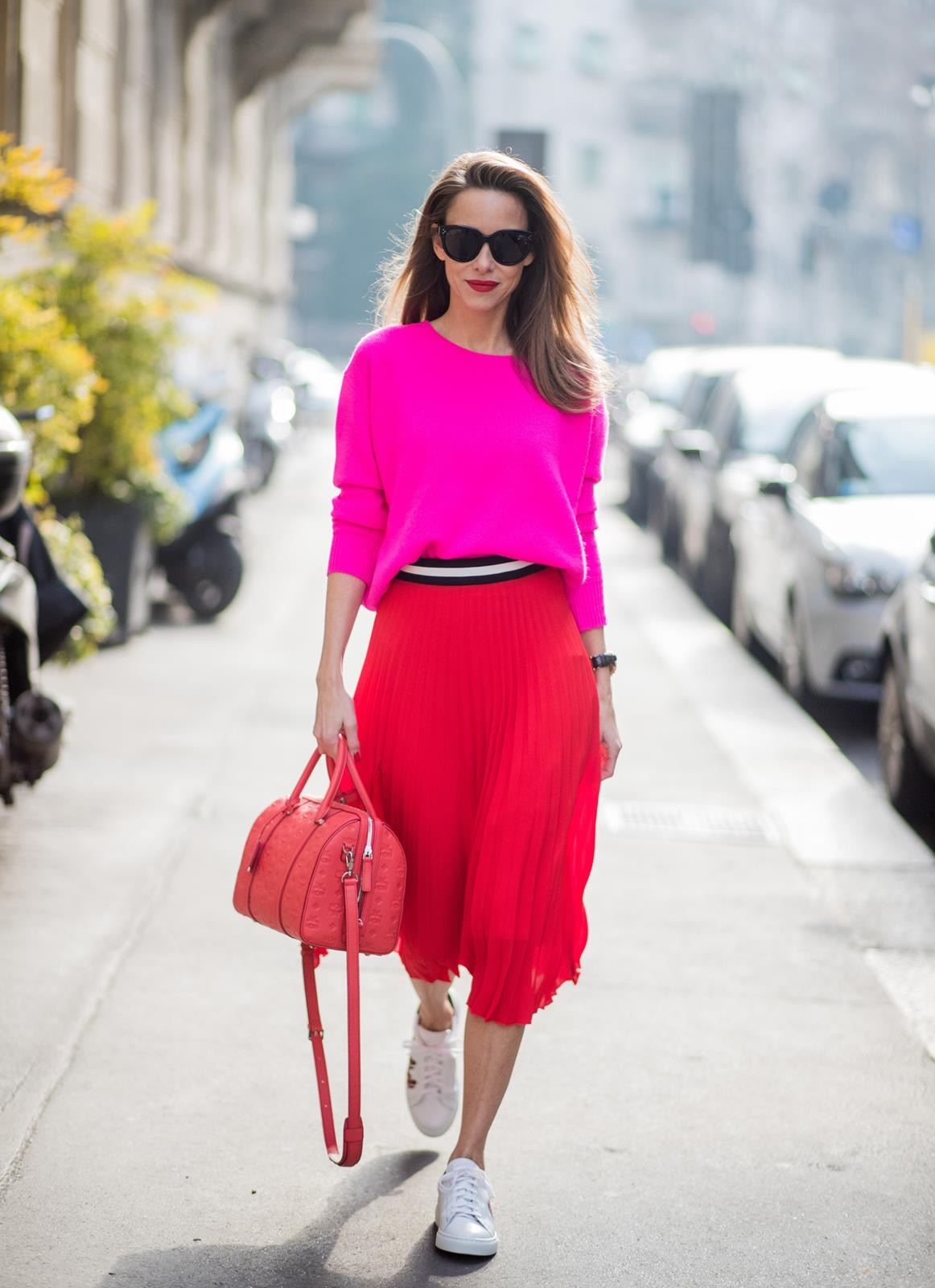 08586ca537f2 ... ITALY - FEBRUARY 21  Model and Blogger Alexandra Lapp wearing pink and  red · «