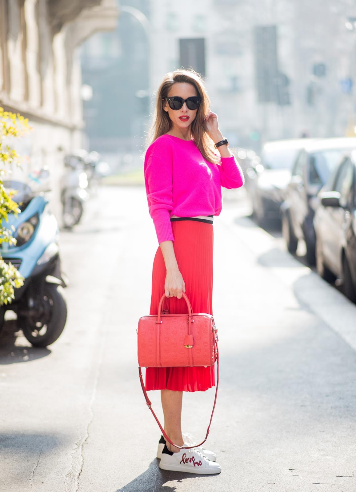 fdc3800b2952 ... ITALY - FEBRUARY 21  Model and Blogger Alexandra Lapp wearing pink and  red ...